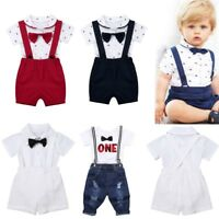 Baby Boys Formal Suit Party Wedding Tuxedo Gentleman Romper Shirt+Shorts Outfits