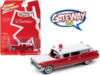 1/64 Johnny Lightning 1959 Cadillac Ambulance Diecast Model Red White JLSP098