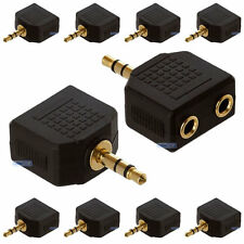 10 x 3,5 mm Mini Stereo Jack per Cuffie Splitter Adattatore Maschio a 2 socket Femmina