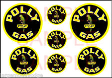 VINTAGE STYLE 1 3/4 AND 1/2 INCH POLLY  GAS OIL DECAL STICKER