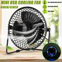 USB Desktop Cooling Fan Cooler Portable +Real Time LED Clock Display Temperature