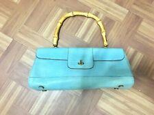 Vintage Bamboo Handle Mini Handheld Shoulder Blue Turquoise Bag