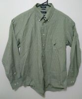 Nautica Mens Shirt Size S Green Check Long Sleeve Button Down Casual 80s Two Ply