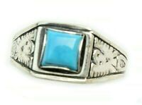 Size 6 Sterling Silver Southwestern Square Turquoise Ring Etched Eagle Band