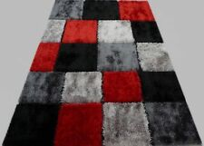 Shag Shaggy Checker  Black Red Grey 8x11 Area Rug Actual Size 7'7 x 10'
