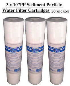 """3 x 10"""" PP Sediment 50 Micron Particle Water Filter Cartridges 50mic (3 pack)"""