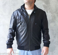 Mens Black Leather Hoodie Jacket A+ Sheep Extremely Soft Supple RARE! Instock