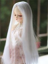 1/3 BJD Puppe SD Perücke DZ DOD LUTS Weiß Teil Pony Lange Glatt Gerade Haar