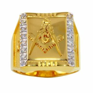 Men's Sterling Silver Yellow Gold Plated Masonic Symbol Square Ring w/ CZ Stones