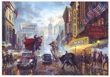 Thomas Kinkade Disney~ Batman, Superman and Wonder Woman Super Heroes Postcard