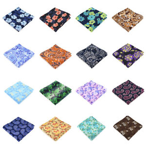 50 Color mens handkerchief Silk Pocket Square Wedding Party  Stripes Paisley