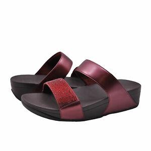 Women's Shoes FitFlop LULU CRYSTAL Embellished Sandals EJ9-894 OXBLOOD RED