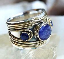 Silberring 57 Saphir Handarbeit Breit Blau Silber Ring Antik Vintage Verspielt