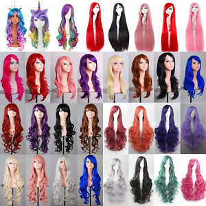 Ladies Party Full Wig Straight Long Curly Hair Anime Mermaid Cosplay Wavy Wigs