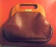 1970s Vintage Etienne Aigner Burgundy Leather Hinged Wood Handle Clutch Bag