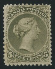 Canada 1868 Large Queen 5c olive green P11.75x12 #26iv mint no gum