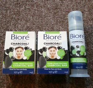 Biore Pore Penetrating Charcoal Bar Face & Body 107g Pore minimiser bundle