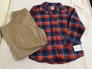 NEW Carter's Boys 2 pc Flannel Plaid Button Top & Khaki Pant Set 6,7,8