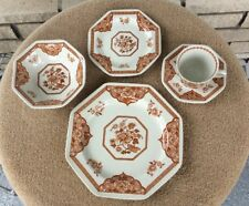 8 - J & G Meakin Brown Old Pekin Royal Staffordshire 5 Piece Place Setting