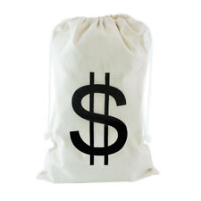Large Canvas Money Storage Bag Pouch with Drawstring Closure Dollar Sign Design