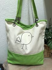 Thirty One Canvas Crew Tote Bag Green Large Bird Embroidered Detachable Strap VG