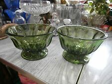 Vintage Set of 2 Green Glass Pedestal Planters Bowl Starburst Bottom