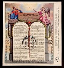 VENDS BLOC FEUILLET PHILEX-FRANCE 1989 DROITS HOMME PREMIER JOUR RARE**
