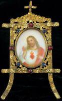 ANTIQUE HAND PAINTED MINIATURE PORCELAIN PAINTING RELIGIOUS JESUS PORTRAIT JEWEL