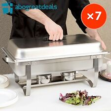 7 Pack Catering Chafer Dish Equipment Kit Stainless Steel Chafing Set 8qt Silver