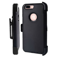 iPhone 8 Plus Defender Case Cover BLACK w/[Belt Clip Fits Otterbox]&Screen