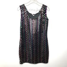 True Vintage Little Black Disco Dress Large Tank Sleeveless Metallic Circles