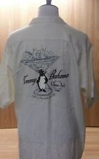 Tommy Bahama, Silk Shirt, Embroidered, Penguin & Martini Glass 2006, Men's XL