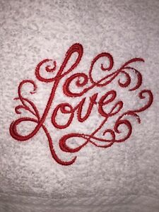 Embroidered White Bathroom Hand Towel LOVE- Valentine's Day Theme  HS0732