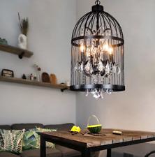 4-Light Bird Cage Crystal Chandelier Lamp Ceiling Pendant Lighting Fixture Black