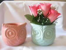 Pair of New Owl Ceramic Planters Pink and Blue Beautiful