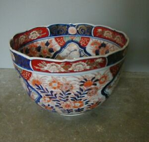 BEAUTIFUL ANTIQUE HAND PAINTED & HEAVILY GILDED SCALLOPED IMARI BOWL
