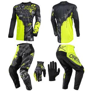 O'Neal Element Ride Neon Kids/Youth Jersey Pants Gloves motocross dirt bike set