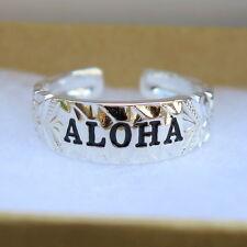 Toe Ring Black Enamel Tr1106 Hawaiian 925 Sterling Silver Aloha Scrolling