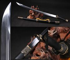 "Chinese BroadSword ""Qing Dao""(刀) High Carbon Steel Sharp Alloy Fitting Handmade"