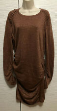 Moda International Metallic Gold Bodycon Sweater Dress Long Sleeves Size XL