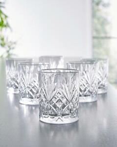 Set of 6 230 ml Crystal Glasses Stunning Cut Tumbler Cocktail Whisky Juice Drink