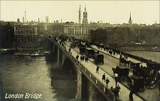 London Bridge, London, England: Horse Drawn Carriages, People, Skyline. Pre-20.