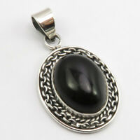 """925 Solid Sterling Silver Natural Black Onyx Pendant 1.7"""" Ladies Fashion Jewelry"""