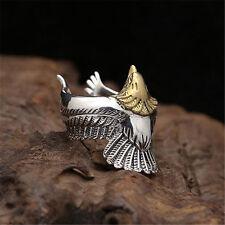 925 Sterling Silver Golden Eagle Ring for Punk Rocker Biker Men