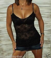 Very Sexy Low Cut Cleavage Sheer Lace Long Layering Tunic Tank Cami Top Black L