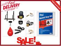 Speed Bag Kit 6-Piece W/ Bag Gloves Hand Wraps Vinyl Swivel 24 Inch Wooden Drum