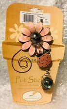 Whispering Wings Ladybug Metal Pot Sticker Glitter Pink - 3-D - Garden Stake