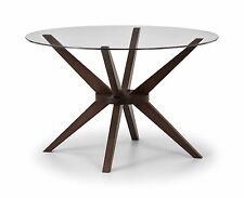 CHELSEA ROUND GLASS 120CM DINING SET with WALNUT FINISH PRICED INDIVIDUALLY