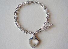 Sterling Silver Heart Charm Bracelet 925 UD w Tiny Diamond? Toggle Chunky Chain
