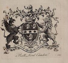 1779 ANTIQUE PRINT ~ PRATT ~ FAMILY CREST COAT OF ARMS LORD CAMDEN